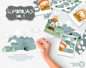Watercolor Woodman Clipart, Mountains Adventure clipart, Dude, Fathers Day, Man clipart, Camping clipart, Axe, Tent, Nursery illustrations
