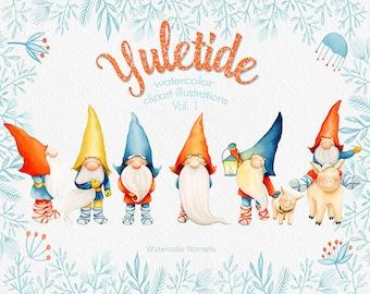 Gnome clipart, Scandinavian Christmas clipart, Yuletide, nordic, watercolor, Dala horse, pig, elk deer, winter, printable, scrapbooking