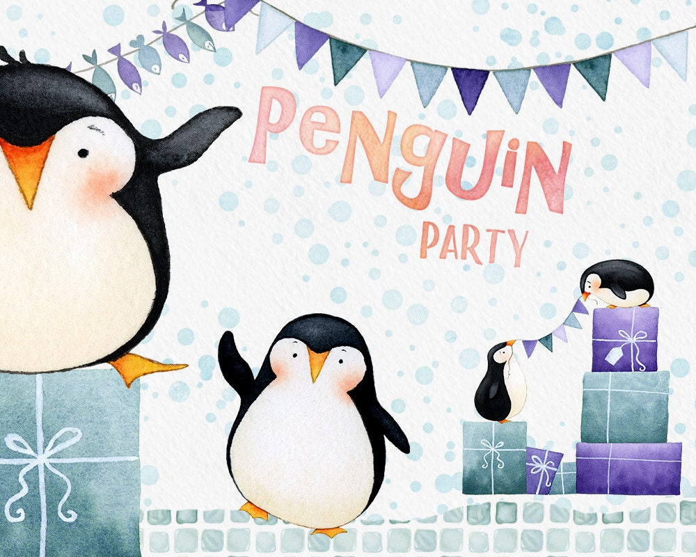 Pinguin Party Clipart Winter Clipart Pinguin Clipart