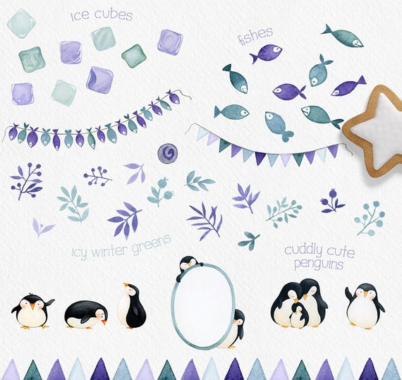 Pinguin Party Clipart Winter Clipart Pinguin Clipart | Etsy
