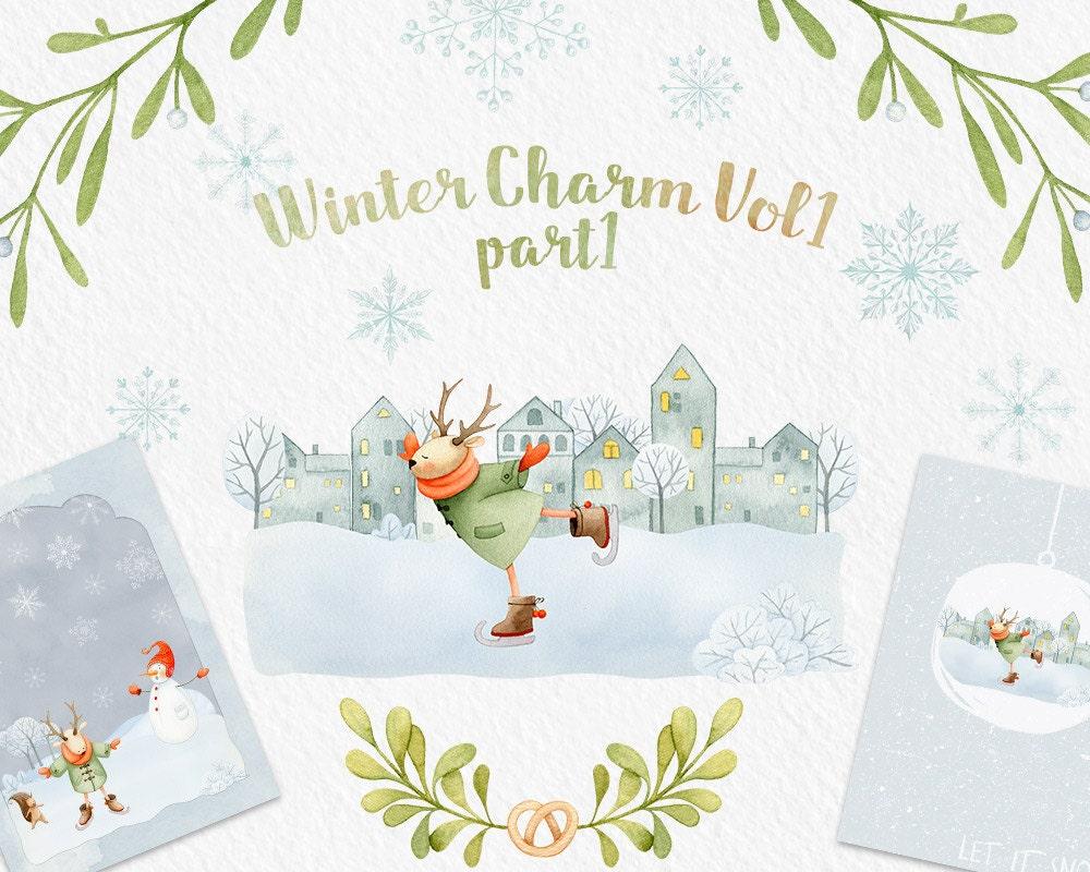 Winter Clip art Deer Christmas clipart watercolor clipart | Etsy