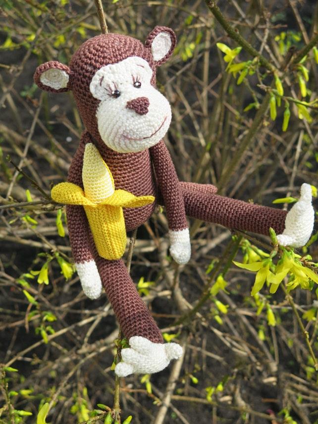 Häkeln-Affe-Spielzeug mit einer Banane gestrickte Spielzeug | Etsy