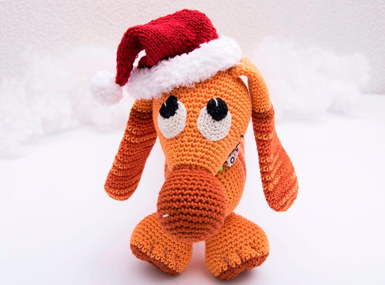 Personalized crochet toys dachshund Knitted dog Stuffed amigurumi Soft plush dog Gift kids for christmas and new year Animal toy