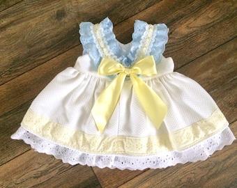 0b30f0ec Girls white Summer dress. Scoop back dress. Blue lace frill. Girls party  dress. Low back toddler dress. Baby girls ruffle dress. Easter