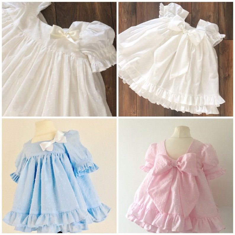 Stunning Baby Girls Spanish Style Blue//Pink Broderie Anglaise Border Bow Dress