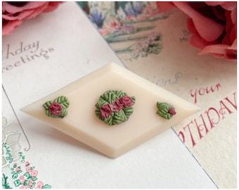 Vintage Cream Plastic Brooch with Plaster Flower Details