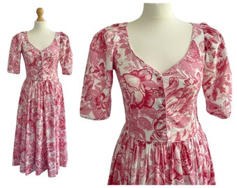 Vintage Laura Ashley Cotton Pink and White Floral Tea Dress   40s Style   UK Size 8   XS