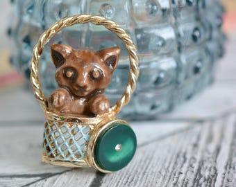 Vintage Metal and Enamel Cat in Basket Brooch