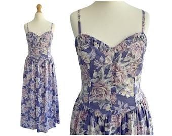 Vintage Laura Ashley Purple Floral Strappy Sundress   UK Size 6-8  XXS XS