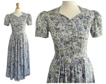 Vintage Laura Ashley Blue Floral Rose Print Cotton Tea Dress   40s Style   Cottagecore   UK Size 10