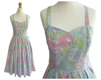 Vintag Laura Ashley Blue Pink and Green Floral Cotton Sundress   50s Style   UK Size 8 XS