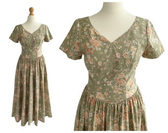Vintage Laura Ashley Green and Yellow Floral Cotton Dress   50s Style   UK Size 8 XS