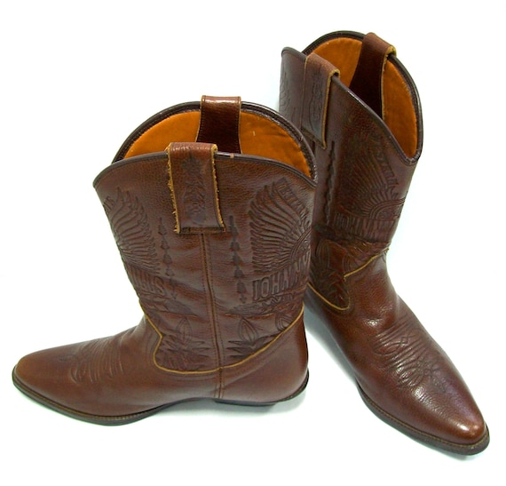 Cowboy Boots Brown Boots Western Boots Vintage Boots Leather Boots US size 9.5  EU size 43 Riding Boots Men's Shoes Cowboy & Western Boots
