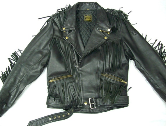 Vintage Jacke, US Größe 40 Größe M EU Größe 50, Motorrad Lederjacke, Leder Fransen Jacke, Biker Jacke, Herren Lederjacke