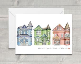 Alameda Victorian Houses Greeting Card