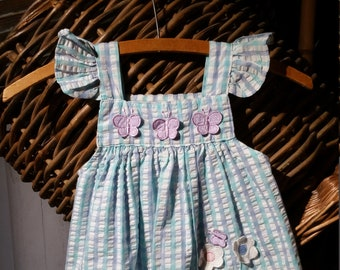 Free shipping -  colorful ittle girl ghingham vintage jumpper, with large ruffle buterfly wing suspenders.