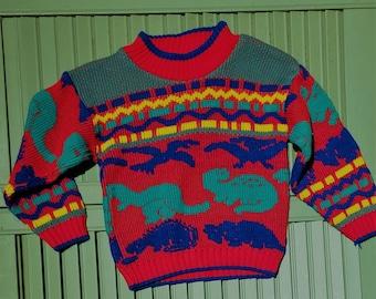 AQEACARMON Baby Boys Girls Knit Sweater Unisex Cotton Dinosaur Pullover Sweatshirt