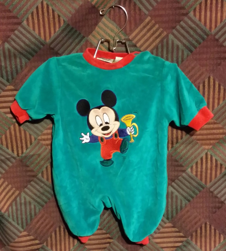Little baby boy first Christmas, green Mickey Mouse, vintage rompers.
