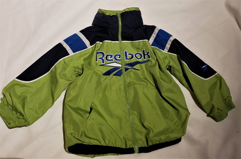 with roll down hoodie cpller Baby boy two tone green and navy REEBOK Reebok vintage jacket cFront zip closure.