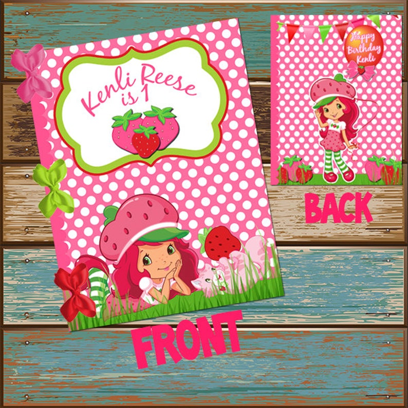 - Strawberry Shortcake Coloring Book Cover First Birthday Etsy