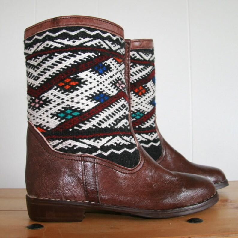 0ab4a502ee7 EU 42 US 10 Handmade Kilim Calf Boots Genuine Leather