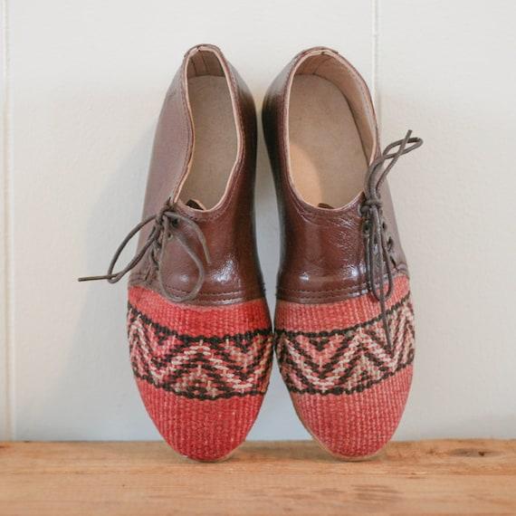 Selle de de de Kilim fait main 6 US chaussures en cuir véritable d5388a