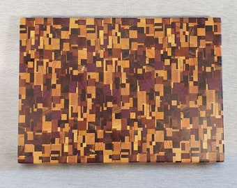 Chaotic or Mosaic Wooden End Grain Cutting Board w/Small Pieces  (CB81)