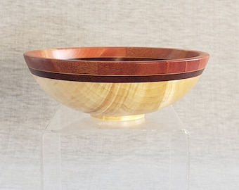 """Small Silver Maple Wooden Bowl with Cuban Mahogany rim, 5-3/4"""""""