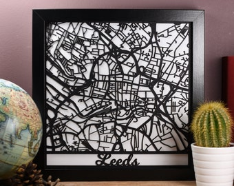 Framed Laser cut Map of Leeds - Laser cut Leeds map - Leeds, Yorkshire. Perfect for map lovers. Map obsessives.