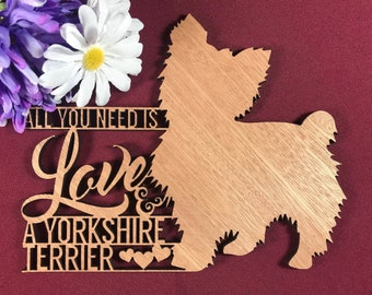 A Spoiled Yorkshire Terrier Lives Here Gift Handmade Home Sign//Plaque 238