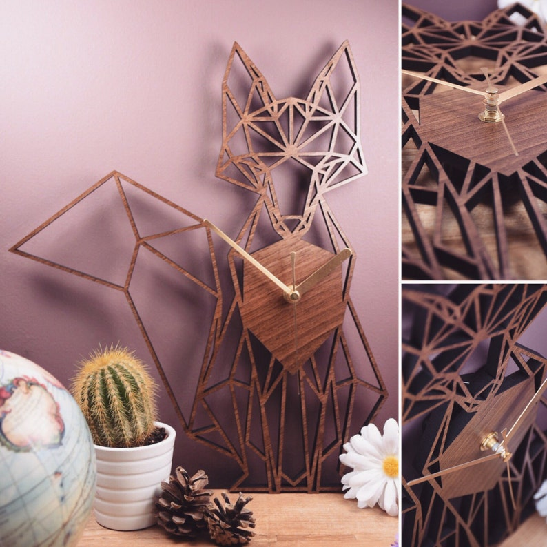 Fox Clock  Geometric Wooden Fox Clock  Full Fox. Perfect for image 0