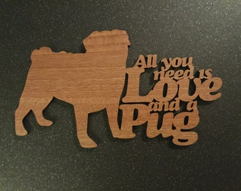 Pug Plaque - Wooden Pug Plaque - Pug Plaque. Perfect for Pug lovers. Pug obsessives.