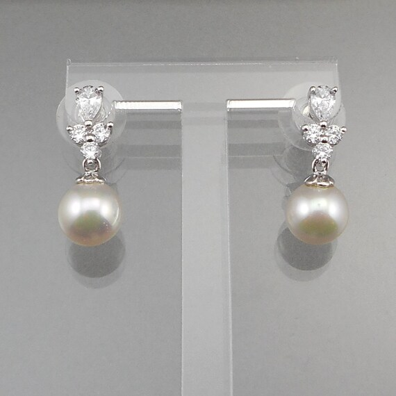 Crystal Threader Earrings Sterling Silver Clear Dangle CZs AB#62