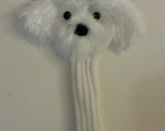 White Long-Hair Maltese Head Cover