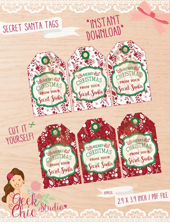 Secret Santa Secret Santa Tags Secret Santa Printable Tags Etsy
