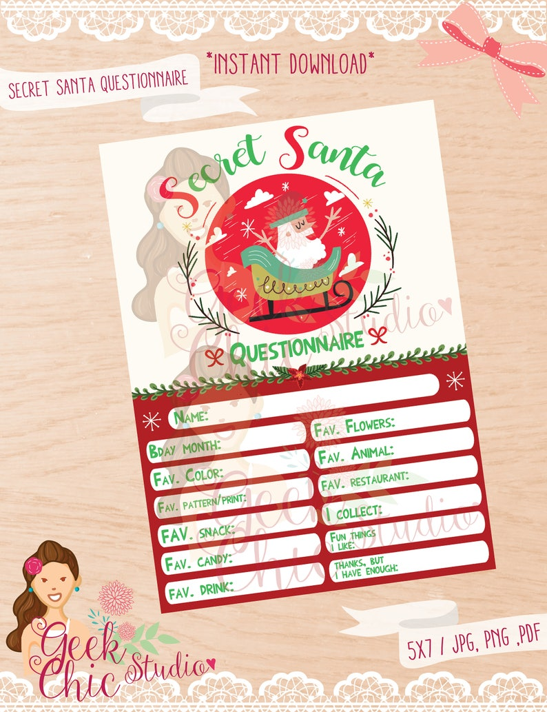photo regarding Secret Santa Questionnaire Printable called Mystery Santa, Mystery Santa questionnaire, Top secret Santa study, Key Santa celebration, Magic formula Santa Do-it-yourself, Santa invitation, Santa get together.
