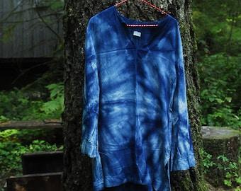 Naturally Dyed Indigo Kaftan- Large