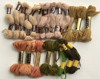 Lot of Vintage Crewel Yarn / 22 skeins / Assorted Colors / Tapestry Yarn / Persian / Wool Crewel Yarn / DMC / Anchor / Tan / Pink / Green
