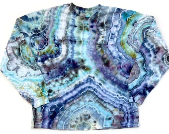 Geode Tie Dye Shirt / XL / Unisex / Adult / Blue / Ice Dye / Long Sleeve / Hand Dyed / Cotton / Hippie / Crew Neck / Extra Large / Agate