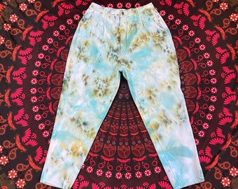 ice dyed jeans unisex tie dye high waist cotton skinny ankle pants upcycled clothing size 12