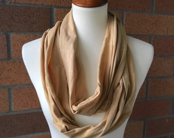Naturally Dyed Cotton Infinity Scarf / Tie Dye Scarf / Circle Scarf / Yellow / Brown / Festival / Hippie