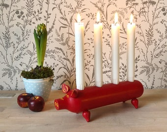 CHRISTMAS Scandinavian European Vintage Item / Red Swedish Pig Advent Candle Holder, made in Sweden, Christmas heart candlestick holder