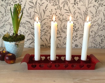 CHRISTMAS Scandinavian European Vintage Item / Red Swedish Advent Candle Holder, made in Sweden, Christmas heart candlestick holder