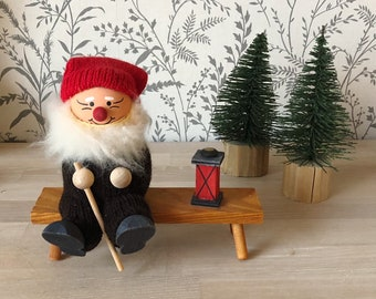 CHRISTMAS Scandinavian European Vintage Item / Swedish Rustic Wooden Christmas Elf Tomte, made in Sweden, Swedish Tomte,