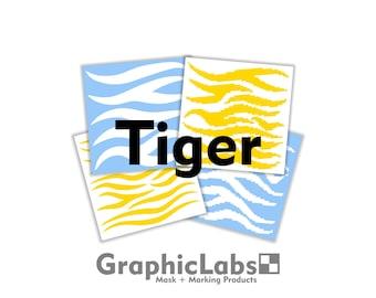 Tiger Pack | Vinyl Spray Mask Camo Stencil for Rifles, Shotguns, Handguns & Small Equipment