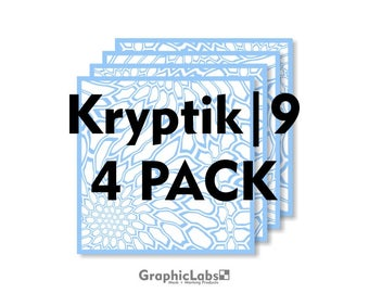 "4 Pack of Kryptik | 9"" by 9"" Vinyl Spray Camo Mask Stencil for Rifles, Shotguns, Handguns & Small Equipment"