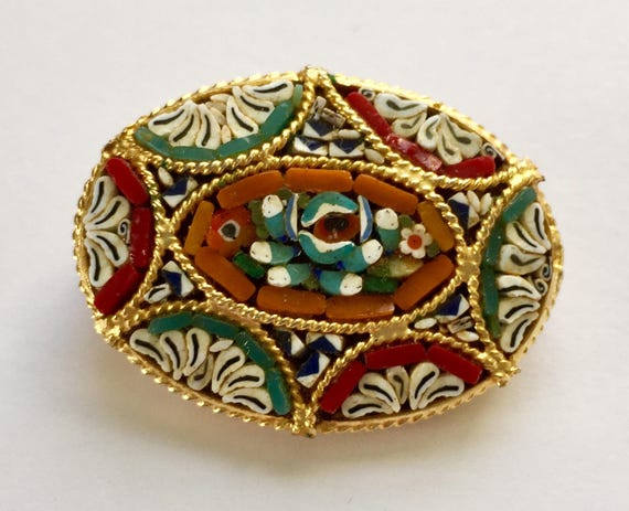 Vintage Italian Gold Toned Filigree Micro Mosaic Pin Brooch Jewelry with Brilliant Floral Flowers Made of Multi Color Art Glass Pieces