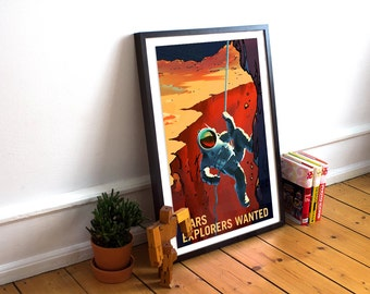 A3 Phobos etc: A4 SPACEX POSTERS: Retro Mars Prints Valles A2 Olympus Mons
