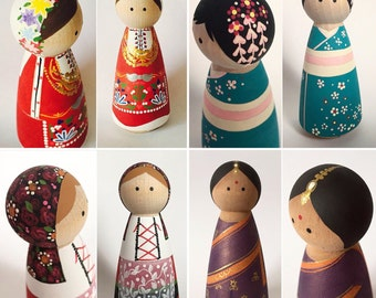 Refugee/Multicultural Peg Doll (Listing is for one doll)