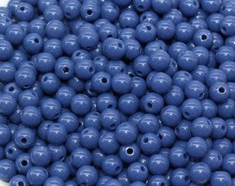 6mm Dark Blue Gumball Beads, Round Acrylic Blue Loose Beads, Bubblegum Beads, Chunky Beads, Bubble Gum Beads, Smooth Round Beads #1406